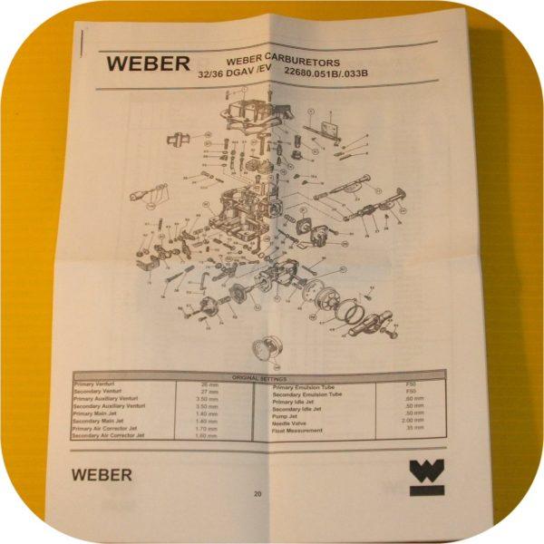 Weber Carburetor 32/36 Rebuild Kit for Toyota Jeep CJ7 Wrangler-22435
