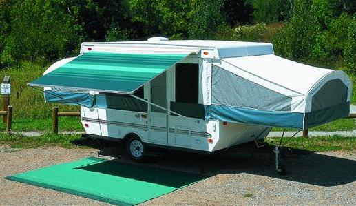 13 ft Campout Bag Awning in Teal Blue Denim Stripes for Pop Up Camper Trailer-21050