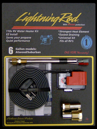 Electric Conversion Kit LIGHTNING ROD Water Heater 6 gal Suburban Atwood Camper-0