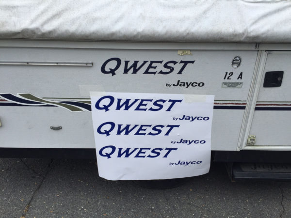 Three Decals for Jayco Qwest Pop Up Camper Travel Trailer Stickers RV Blue-21696