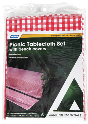 """52""""X84"""" Red White Gingham Tablecloth Pinic Folding Camper Table with Seat Covers-19905"""