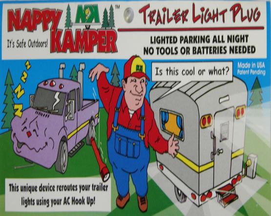 NAPPY KAMPER Trailer Park Tail Lamp Light Plug Camper Travel Trailer Pop Up Camp-20925