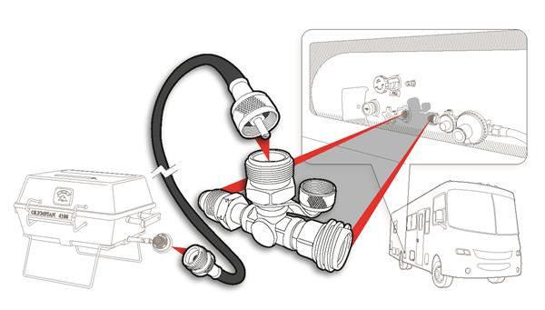 Propane 3 Port Supply Regulator Tee and Hose Trailer Camper RV Motorhome LP Gas-20581