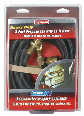 Propane 3 Port Supply Regulator Tee and Hose Trailer Camper RV Motorhome LP Gas-20582