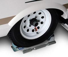 SINGLE AXLE TIRE LOCKING CHOCK Camper Travel Trailer Pop Up Wheel Tire Stabilizer-0