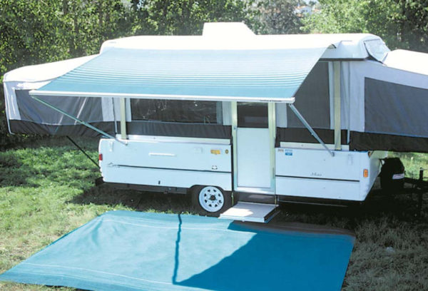 10 ft Campout Bag Awning in Ocean Blue Denim Stripes for Pop Up Camper Trailer-20983