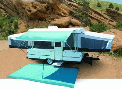 10 ft Campout Bag Awning in Ocean Blue Denim Stripes for Pop Up Camper Trailer-20984