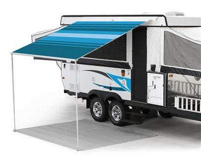 10 ft Campout Bag Awning in Ocean Blue Denim Stripes for Pop Up Camper Trailer-0