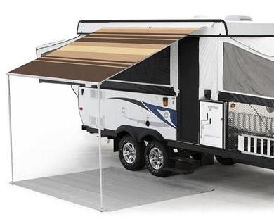 12 ft Campout Bag Awning in Sierra Brown Denim Stripes for Pop Up Camper Trailer-0