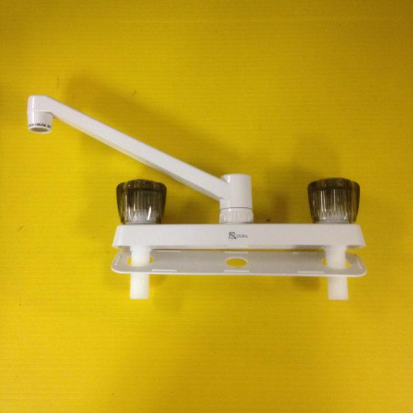 Dura Kitchen Sink Faucet Camper RV Travel Trailer Pop Up Plumbing Water White-0