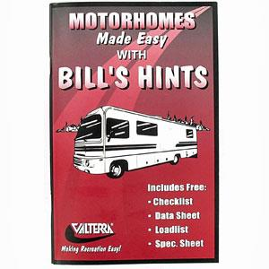 Book Manual Bill's Hints RVing Made Easy Motor Home RV Camper Class A B C Pusher-0