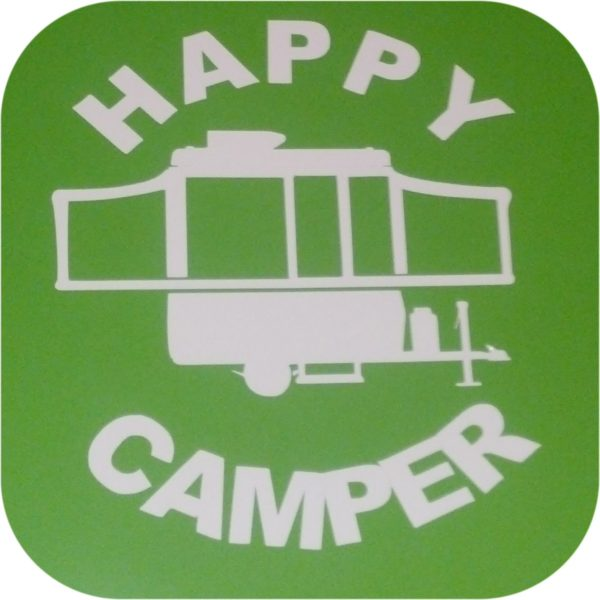 Happy Camper Vinyl Sticker Pop Up Tent Jayco Starcraft Rockwood Viking Coleman-0