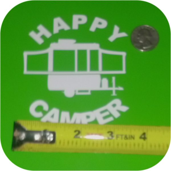 Happy Camper Vinyl Sticker Pop Up Tent Jayco Starcraft Rockwood Viking Coleman-19456